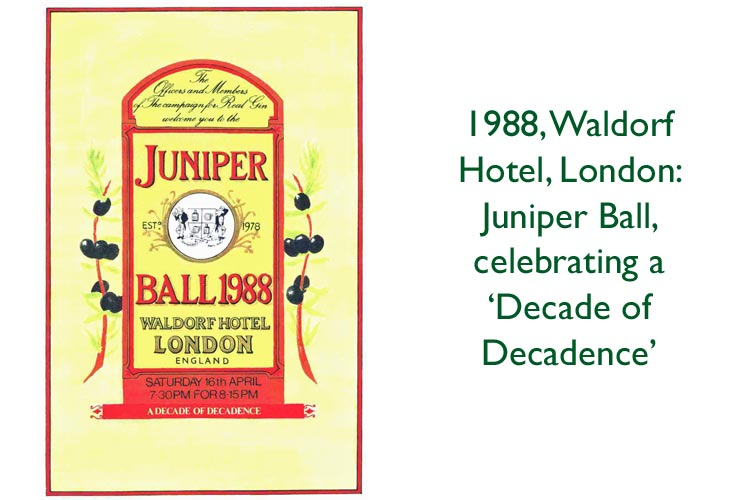 Programme cover for Campaign for Real Gin Juniper Ball 1988
