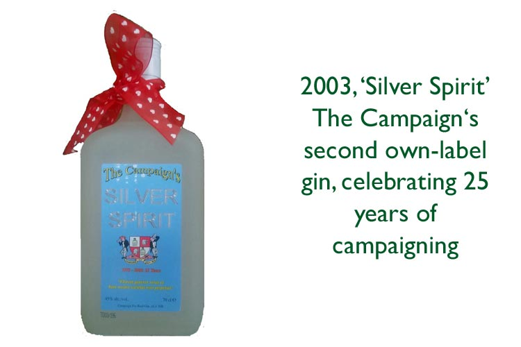 Silver Spirit gin celebrating Campaign for Real Gin's 25th Anniversary