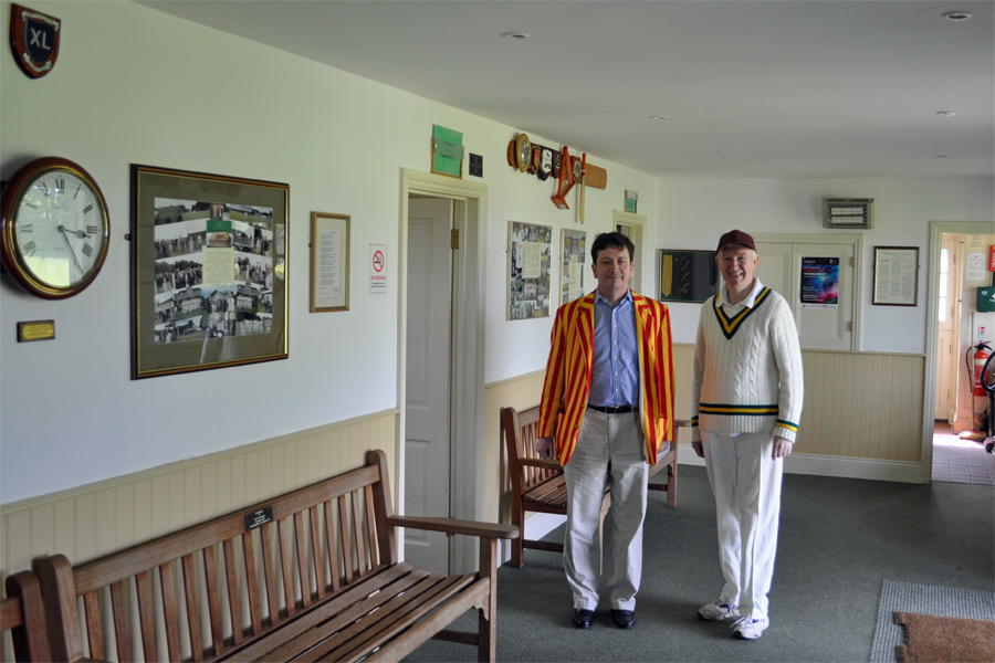Oliver Wise and Charles Gallagher in the pavilion at Hambleden CC