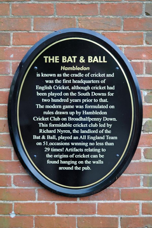 Plaque at Bat and Ball pub, Hambleden