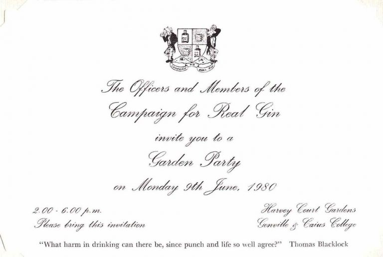 invitation to CRG Garden Party 1980