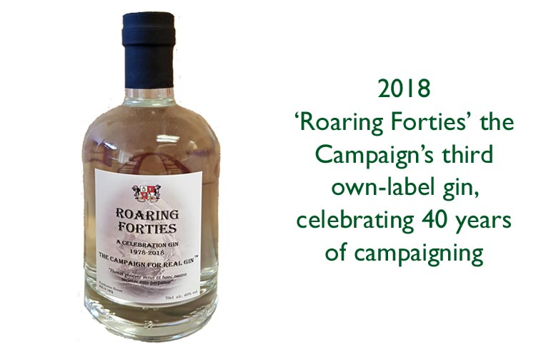 bottle of Roaring Forties 'own label' Campaign for Real Gin gin