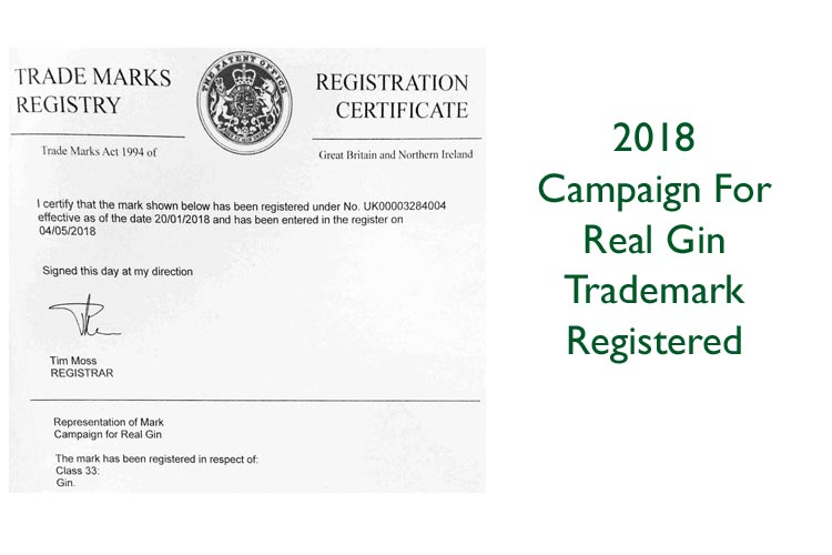 Campaign For Real Gin Trademark Registration 2018