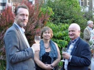 TDT officers Dan Cook Janet Chapman Jonathan Pace at 2018 CRG garden party