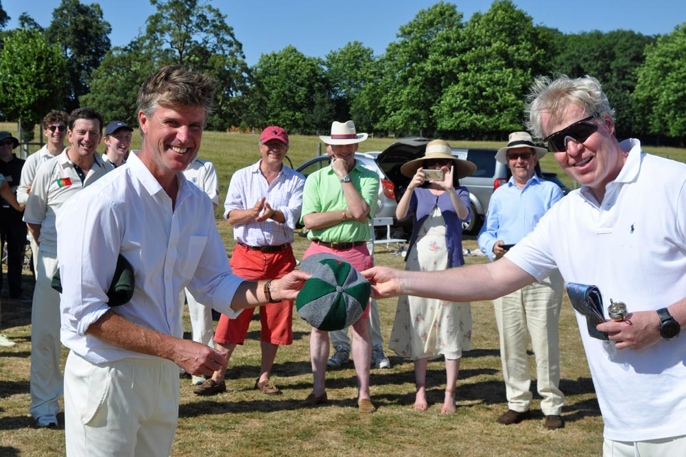 presentation of althorp cap, earl spencer and bill krarup