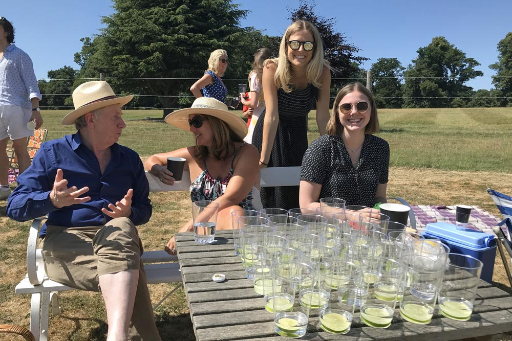 gins lined up, Althorp 2018