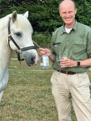 Magnus Eriksson with pony Dave and Roaring Forties gin