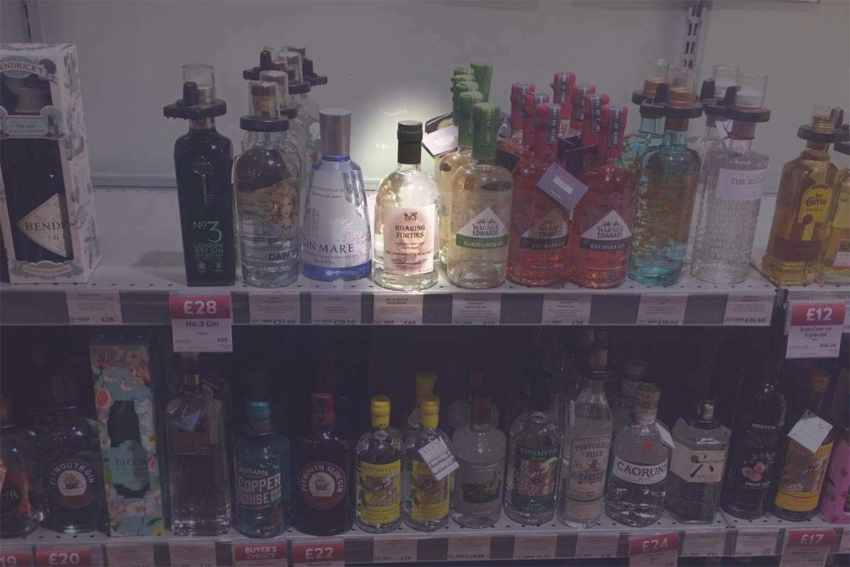 Roaring Forties Gin on Waitrose shelf