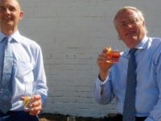John Jeyes and Robert Gibson enjoying lunch at Haymans gin distillery