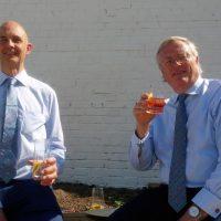 John Jeyes and Robert Gibson enjoying lunch at Haymans gin distillery