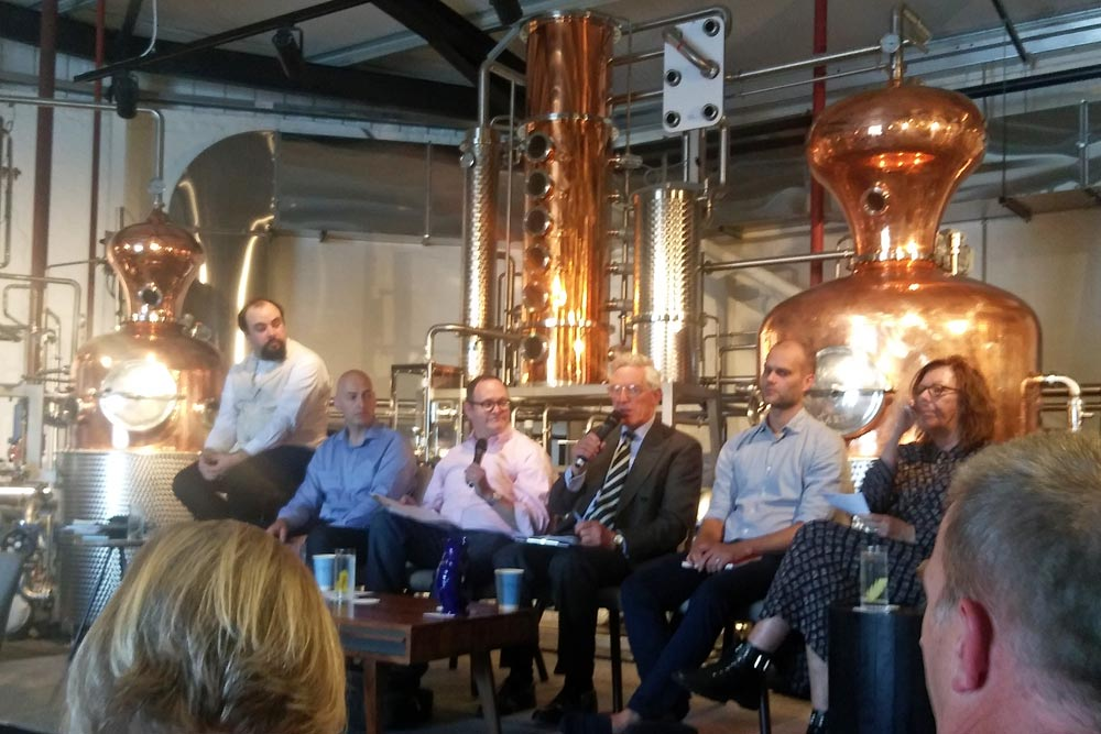 panel at Haymans Fake Gin discussion