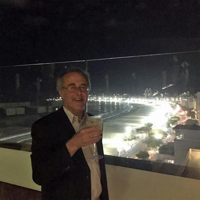 Hon Sec Nick Ellis drinking Amazzoni at the Copacabana, Rio