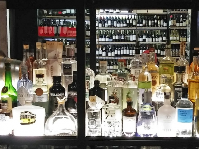 Gin brands at Time Out market bar, Lisbon