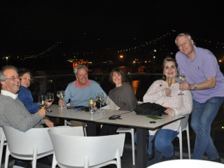 First drink of Portugal weekend at Le Chat overlooking bridge over the Tagus