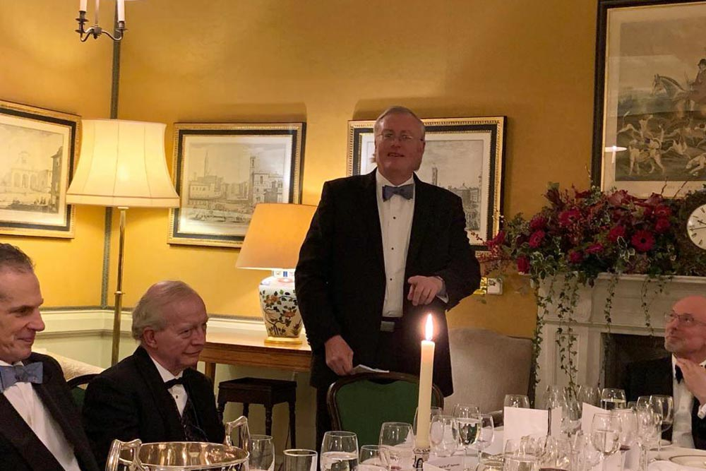 Robert Gibson making a toast at Campaign for Real Gin annual dinner 2018