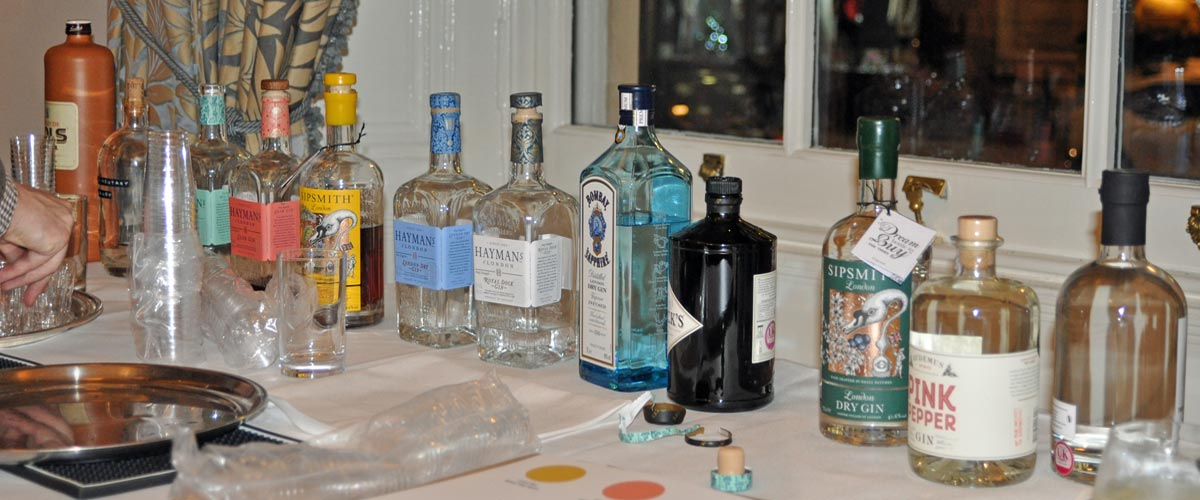 gins ready for tasting, Athenaeum Club November 2018
